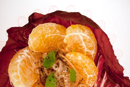 3 citrus-chicken salad in radicchio wraps