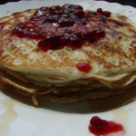 Coconut Pancakes with Raspberry Reduction